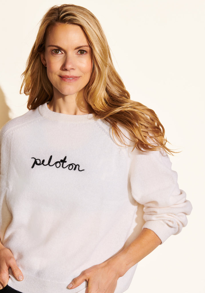 Peloton Embroidered Cashmere Sweater (White)