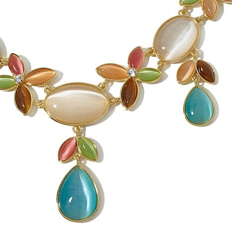 "Roberto by RFM ""Valeria"" Simulated Cat's Eye Goldtone Multicolor 18"" Station Necklace"