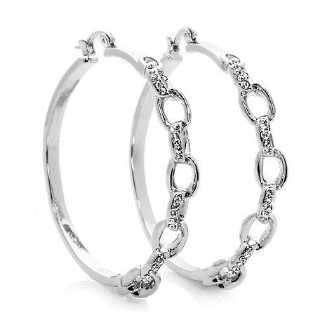 """Alessandra"" Crystal Link Pave' Hoop Earrings"