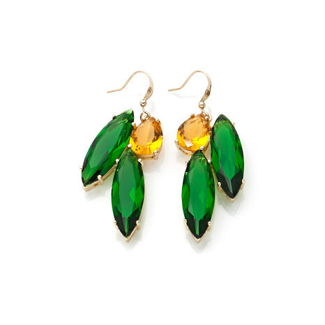 ROBERTO BY RFM EARRINGS WITH GREEN AND YELLOW STONES