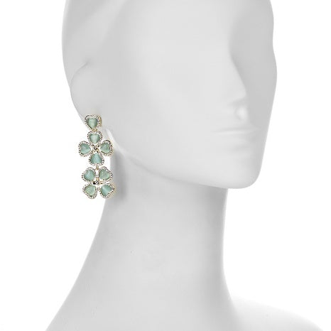 Roberto by RFM Drop earrings with four-leaf clover design and crystals