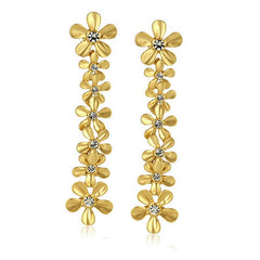 "Roberto by RFM ""Un Giardino"" Crystal Goldtone Floral Dangle Earrings"