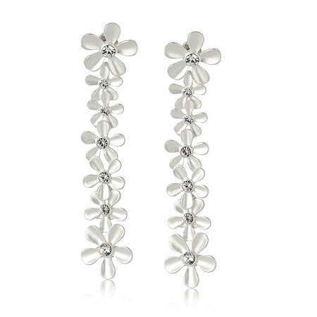 Roberto by RFM Drop earrings with flower pattern and colorless crystals