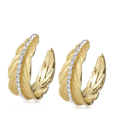 "Roberto by RFM ""Cortona"" Crystal Goldtone Leaf Hoop Earrings"