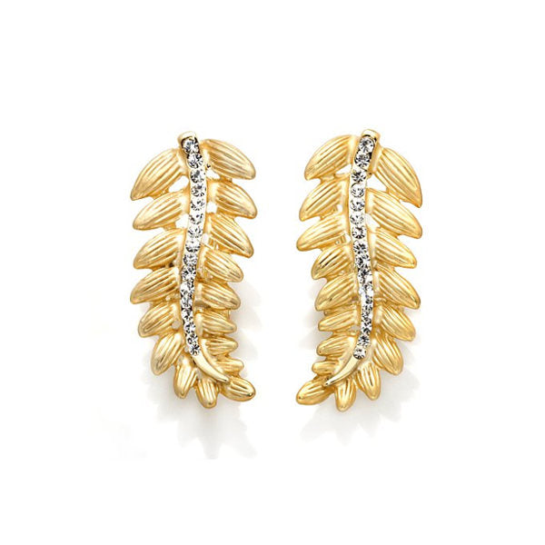 "Roberto by RFM ""Cortona"" Crystal Leaf Goldtone Earrings"