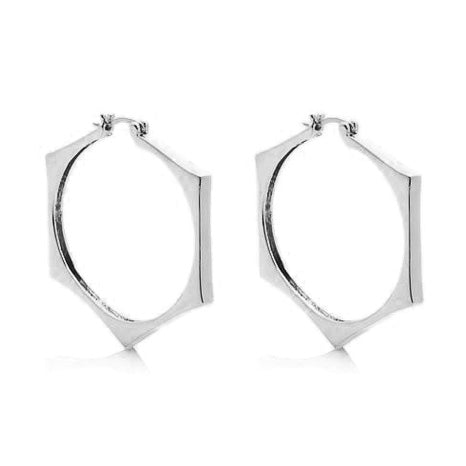 "Roberto da RFM ""Ribelle"" Pyramid Goldtone High - Polenta Hoop Earrings"