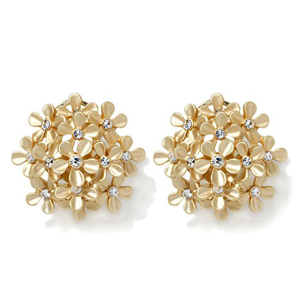 """Giardino"" Crystal Goldtone Floral Cluster Clip Earrings"