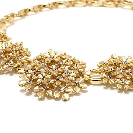 """Giardino"" Crystal Goldtone Floral Cluster 18"" Statione Necklace"