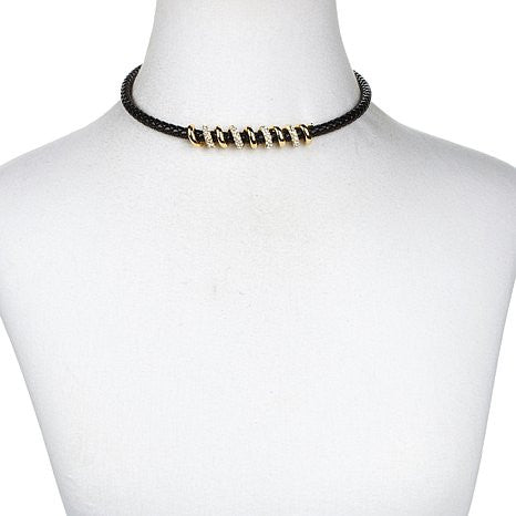 "Roberto by RFM ""Spirali"" Pavé Crystal Swirl Design Cord Necklace"