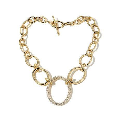 "Roberto by RFM ""Mama"" Pavé Crystal 18"" Link Necklace"