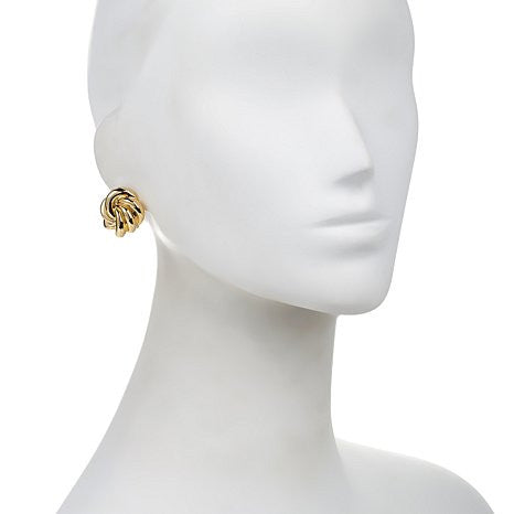 "Roberto by RFM ""Rosellina"" Goldtone Swirl-Design Button Earrings"