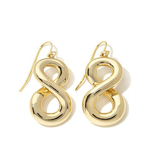 "Roberto by RFM ""Senza Fine"" Goldtone Infinity Design Drop Earrings"