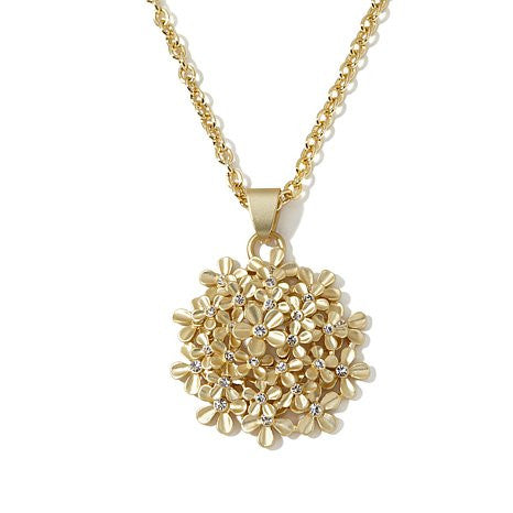 "Roberto by RFM ""Giardino"" Crystal-Accented Goldtone Floral Wreath Pendant with 17-1/2"" Chain"