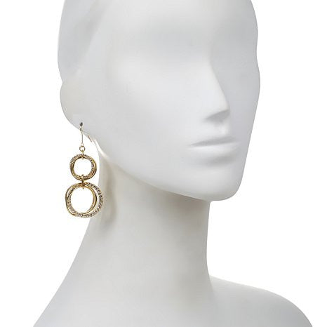 "Roberto by RFM ""Stella"" Circle Link Pavé Drop Earrings"