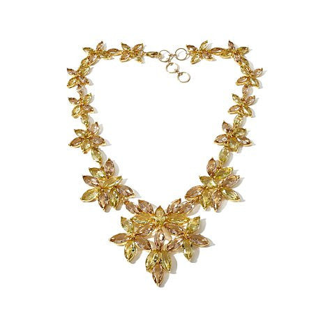 "Roberto by RFM ""Carolina"" Faceted Stone Goldtone Flower-Design 17"" Station Necklace"