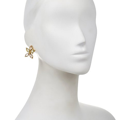 "Roberto by RFM ""Carolina"" Faceted Stone Goldtone Flower-Design Earrings"