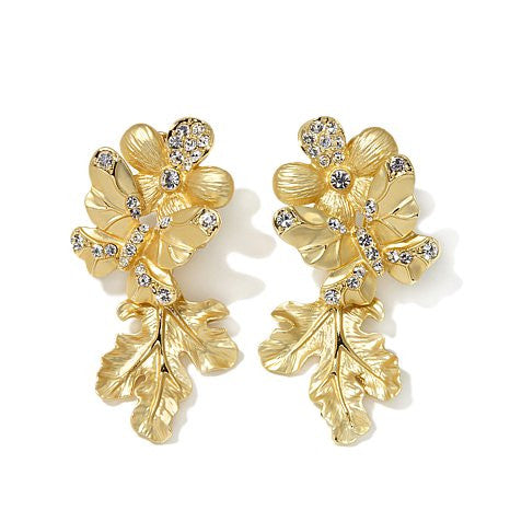 "Roberto by RFM ""Foglia d'Oro"" Crystal Goldtone Floral Design Drop Earrings"