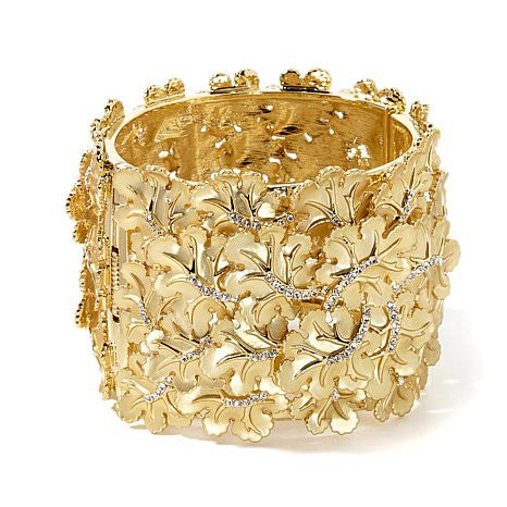 "Roberto by RFM ""Foglia d'Oro"" Crystal Goldtone Leaf Hinged Bangle Bracelet"