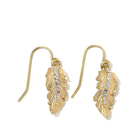 "Roberto by RFM ""Cortona"" Crystal Leaf Drop Earrings"