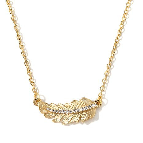 "Roberto by RFM ""Cortona"" Pavé Crystal Small Leaf 17"" Necklace"