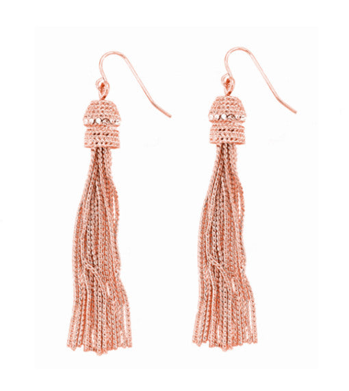 Roberto by RFM Pendant earrings with tassel of chains and crystals