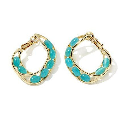 "Roberto by RFM ""Un'estate"" Cat's Eye Stone Hoop Earrings"