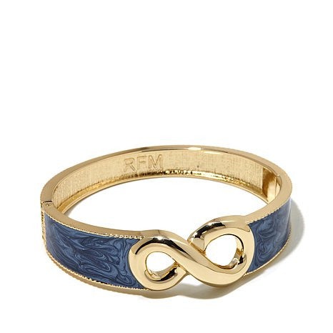 "Roberto by RFM ""Capri Girl"" Infinity Design Enamel Hinged Bangle Bracelet"