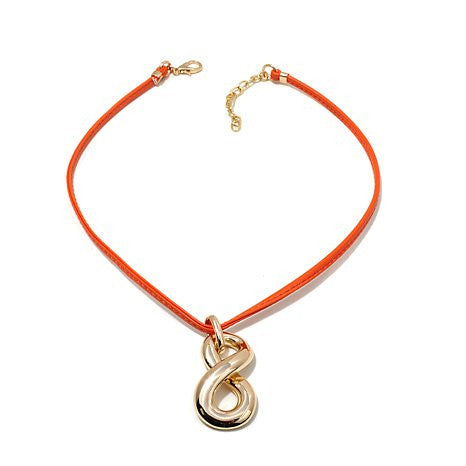 "Roberto by RFM ""Capri Girl"" Infinity Pendant with 18-1/2"" Leather-Like Cord Necklace"