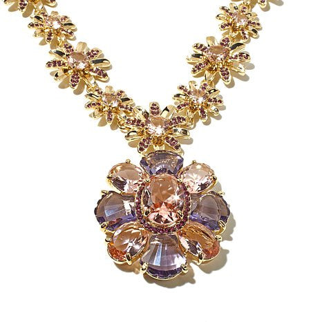 "Roberto by RFM Pink and Purple Stone Goldtone 15-1/2"" Flower Drop Necklace"
