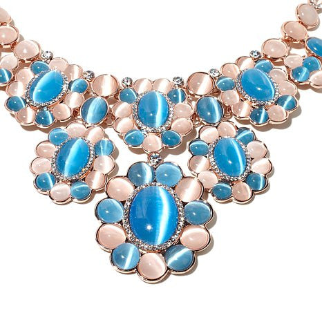 "Roberto by RFM ""Quisiana"" Pink and Blue Simulated Cat's Eye Rosetone 17"" Bib Necklace"