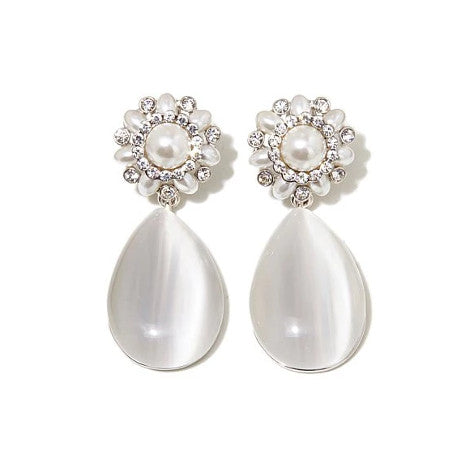 Roberto by RFM White Simulated Cat's Eye Stone and Simulated Pearl Drop Earrings