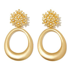 "Roberto by RFM ""Giardino"" Crystal Goldtone Floral Drop Hoop Earrings"