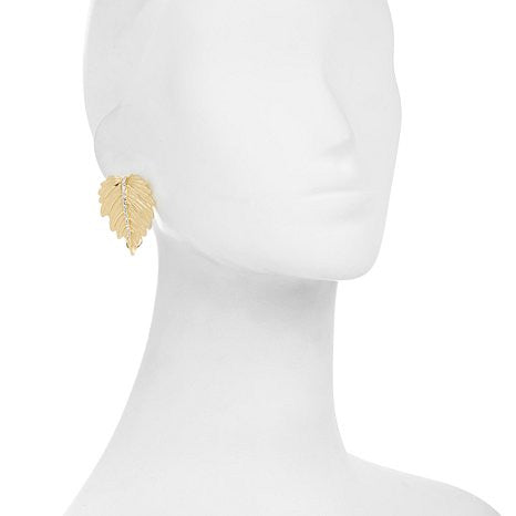 Roberto by RFM Crystal Goldtone Large Leaf Stud Earrings