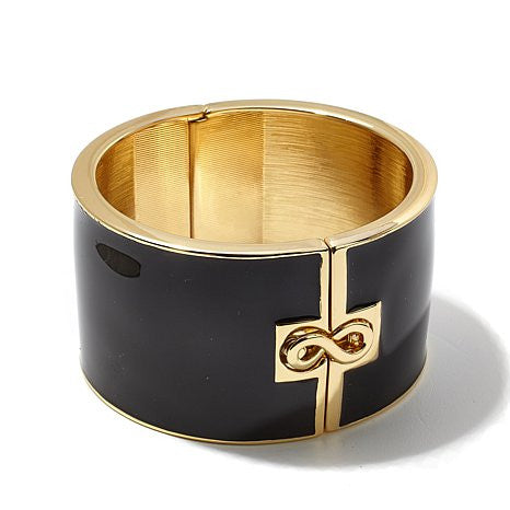 "Roberto by RFM ""L'infinito"" Infinity Design Enamel Wide Hinged Bangle Bracelet"