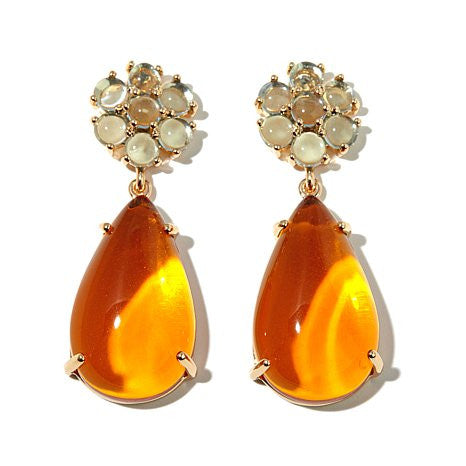 "Roberto by RFM ""Floral Luxury"" Colored Cabochon Goldtone Pear-Shaped Drop Earrings"