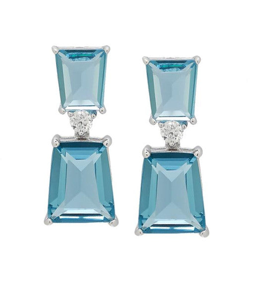 """Appuntamento"" Blue Faceted Glass Earrings with Crystal"