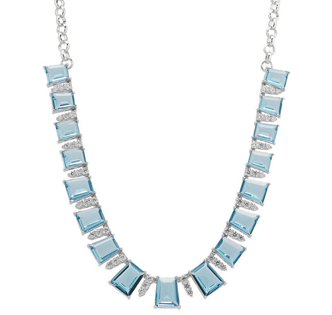 """APPUNTAMENTO"" BLUE FACETED GLASS NECKLACE ""19"" WITH CRYSTAL"
