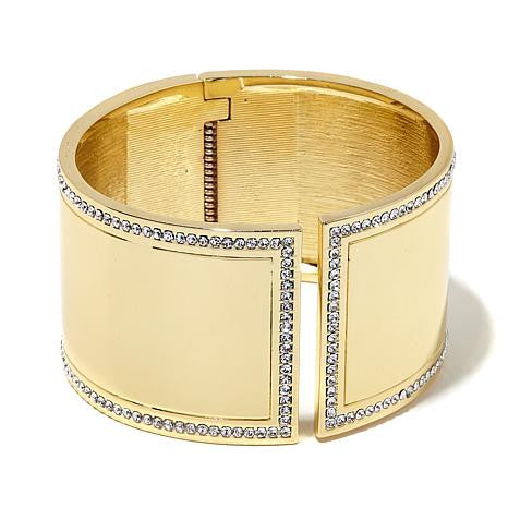 "Roberto by RFM ""Capri Nights"" Crystal Border Goldtone Cuff Bracelet"