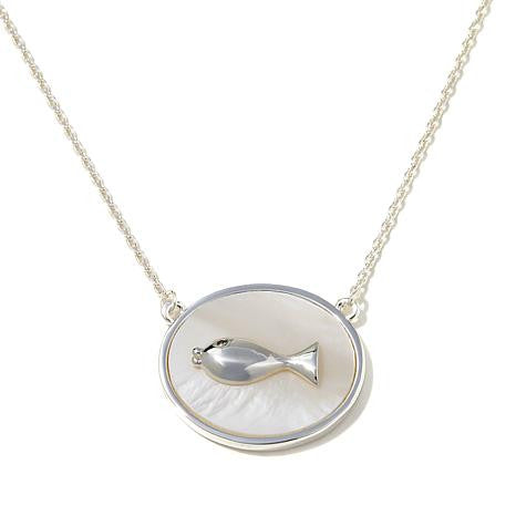 "Roberto by RFM ""Pesciolini"" Mother-of-Pearl Goldtone Fish Drop 17-1/4"" Necklace"