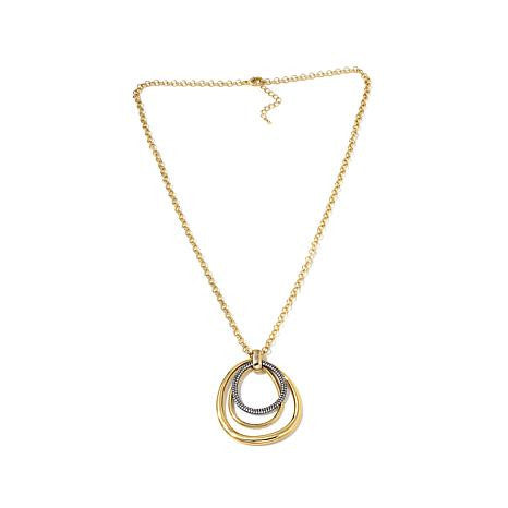 "Roberto by RFM ""Cerchi di Lusso"" Goldtone Pavé and Polished Loop Pendant with 28"" Chain"
