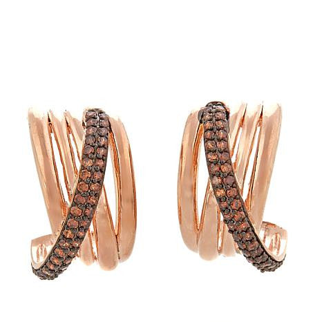 "Roberto by RFM ""Abbraccio di Lusso"" CZ-Accented Pavé Crossover Hoop Earrings"