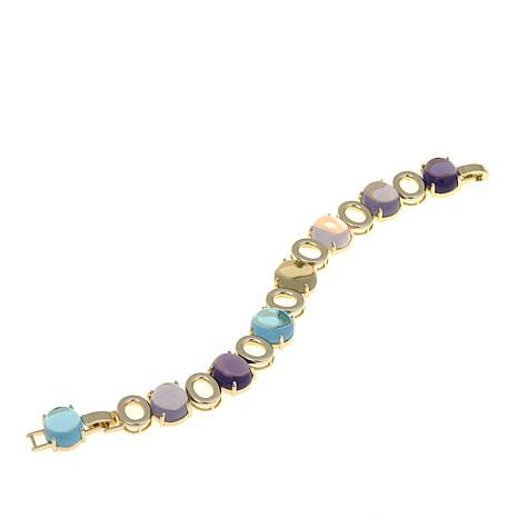 "Roberto by RFM ""Classico"" Multicolor Stone Goldtone Station 6-3/4"" Bracelet"