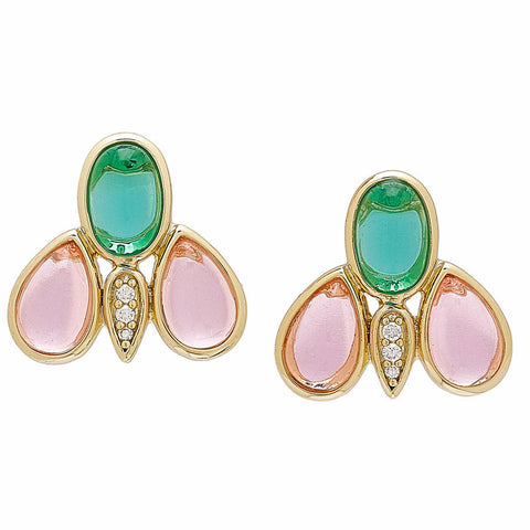 "Roberto by RFM ""Fiore Faraone"" Pink and Green Cabochon Goldtone Stud Earrings"