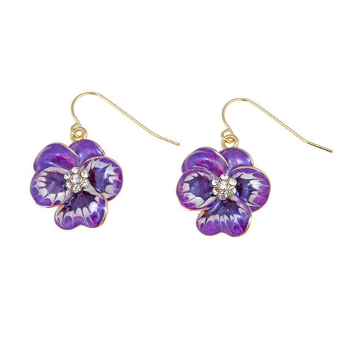 """Viola Del Pensiero"" Enamel Crystal Earrings"
