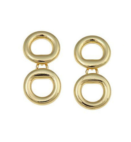 "Roberto by RFM ""Sempre"" Goldtone Double Oval Drop Earrings"
