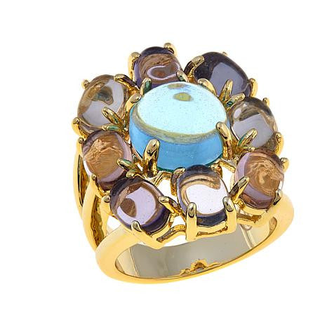"Roberto by RFM ""Acquerello"" Multicolor Cabochon Goldtone Flower Ring"