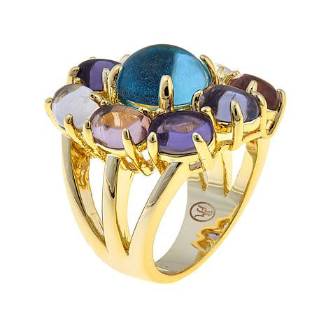 Roberto by RFM Flower design ring with colored crystals