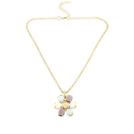 "Roberto by RFM ""Acquerello"" Multicolor Cabochon Goldtone Flower Pendant"