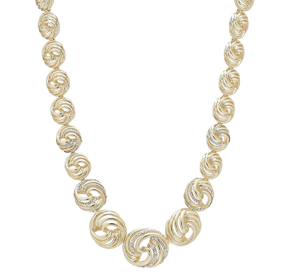 """Labirinto"" Crystal Goldtone Swirl Necklace 17 1/4"""