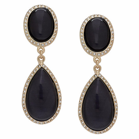 """Caramelle"" Oval and Pear Stone Drop Earrings"